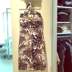 Strapless leopard dress